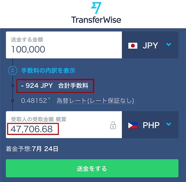 トランスファーワイズの送金手数料